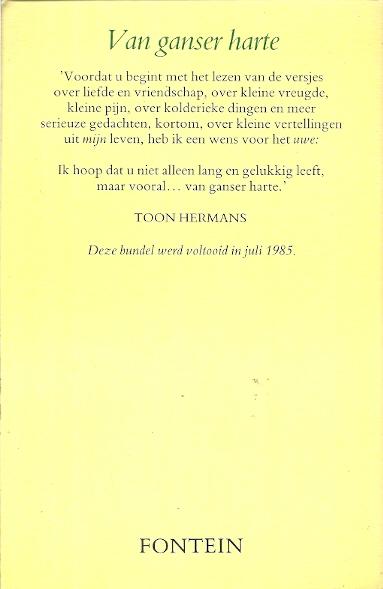 Extreem VAN GANSER HARTE - Toon Hermans - Tweedehands Christelijke boeken &OH59
