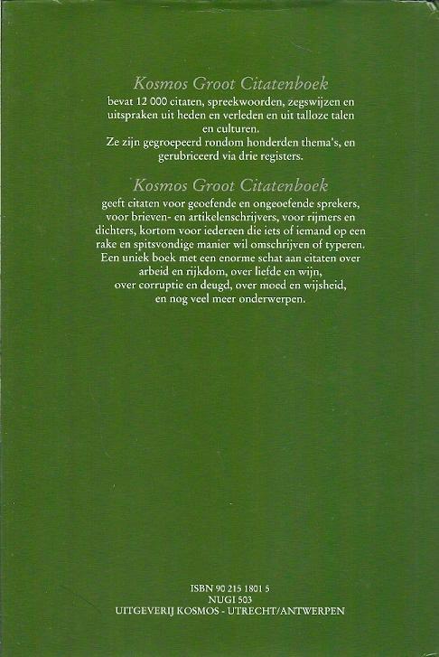 Citaten Nederlandse Literatuur : Kosmos groot citatenboek citaten spreuken en