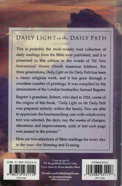 Daily Light On The Daily Path From The New International  Version Zondervan_Back