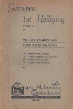 Geroepen tot Heiliging-Vier toespraken van Miss Ruth Paxson