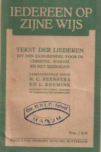 Iedereen op zijne wijs-H. C. Feenstra en L. Keemink-3e druk 1929