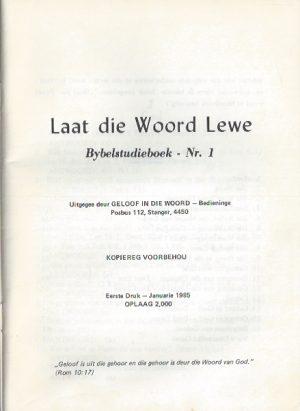 Laat die Woord Lewe-Bybelstudieboek Nr. 1-James van Zijl_P