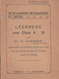 De waarheid betrachten in liefde-Leerrede over Efeze 4-15 door Ds. H. Janssen
