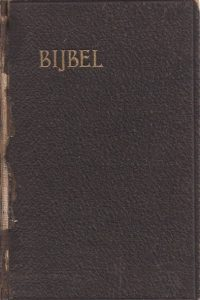 Bijbel Dat is de gansche heilige schrift Nederlands Bijbelgenootschap 1912 bruin linnen leer boek