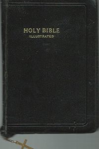 Holy Bible Illustrated World self pronouncing edition Bound in black leather with zipper and crotch