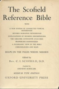 The Scofield reference Bible Medium Type Edition The Holy Bible containing the Old and New Testaments edited by C I Scofield Oxford University Press 1945 paper dustjacket