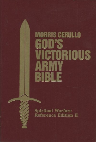 GODS VICTORIOUS ARMY BIBLE Spiritual Warfare Reference Edition II KING JAMES VERSION Red Imitation Leather bound 1989 Morris Cerullo