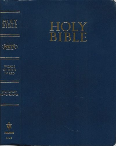 Holy Bible NKJV Dictionary Concordance Nelson 412B Navy Blue Leatherflex softcover 1982